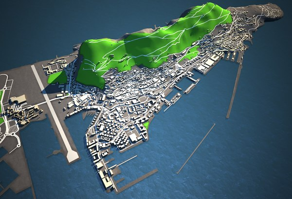 3D gibraltar lowres skyline model