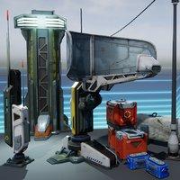 sci-fi props exterior pack 3D model