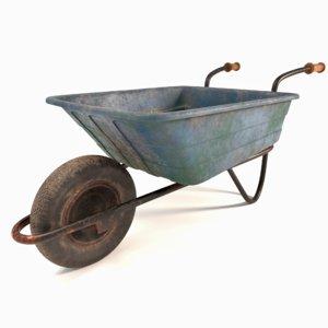 3D old wheelbarrow barrow tyre wheel model