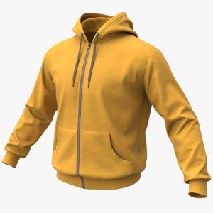 realistic yellow hoodie 02 3D model