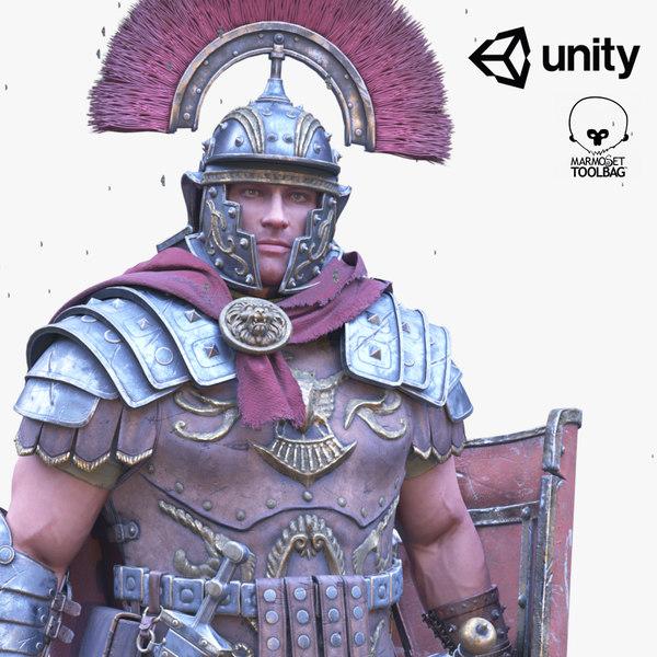 roman centurion character pbr 3D