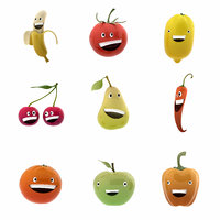 smiling fruits 3D