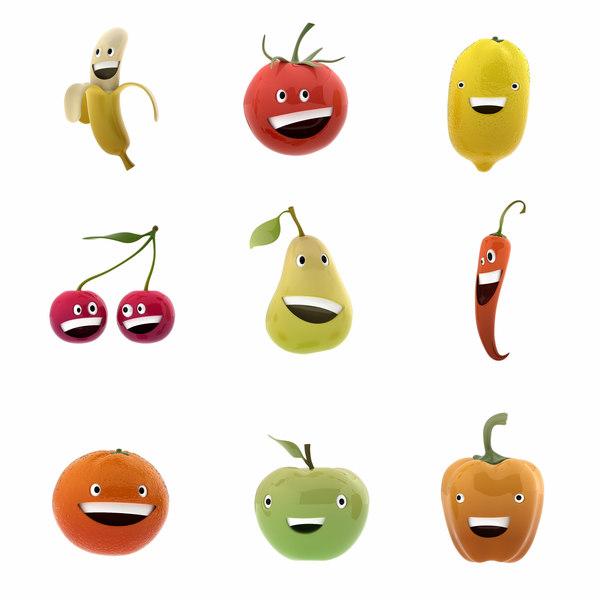 smiling fruits 3D