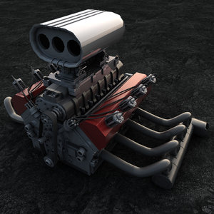 hot rod engine 3D