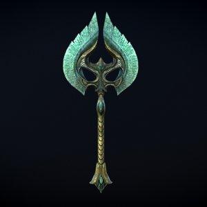 3D skyrim glass war axe model