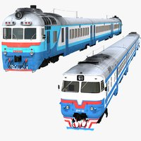 3D diesel passenger train model
