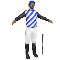 3D jockey people character model