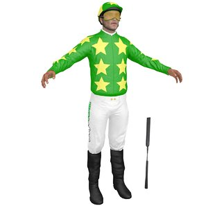 3D jockey people character