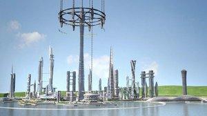 3D future city earth