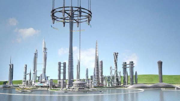 3D future city earth