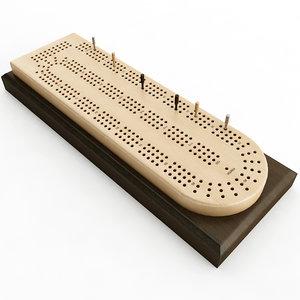 3D model cribbage card board