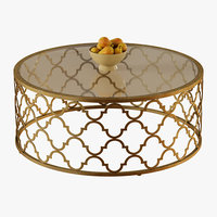 Round Moroccan Cocktail Table Gold