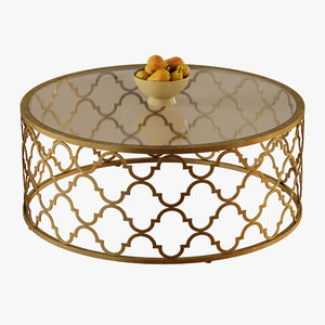 3D model moroccan cocktail table gold