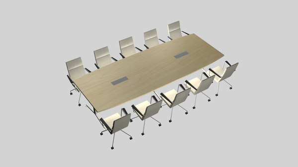 3D chairs conference table model