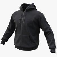 3D realistic black hoodie 02 model