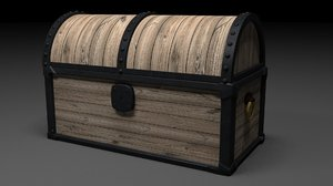 medieval chest animation 3D model