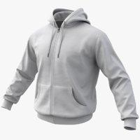 realistic white hoodie 02 model