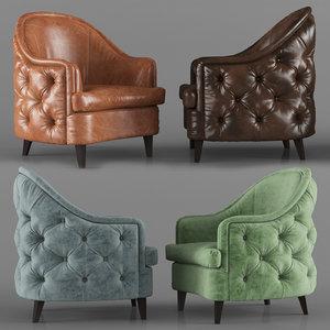 3D model leatherpurearm chair