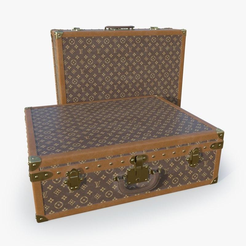 3D suitcase set model