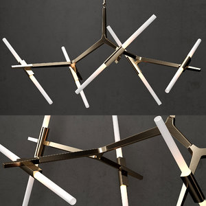 chandelier 10 bulb gold 3D