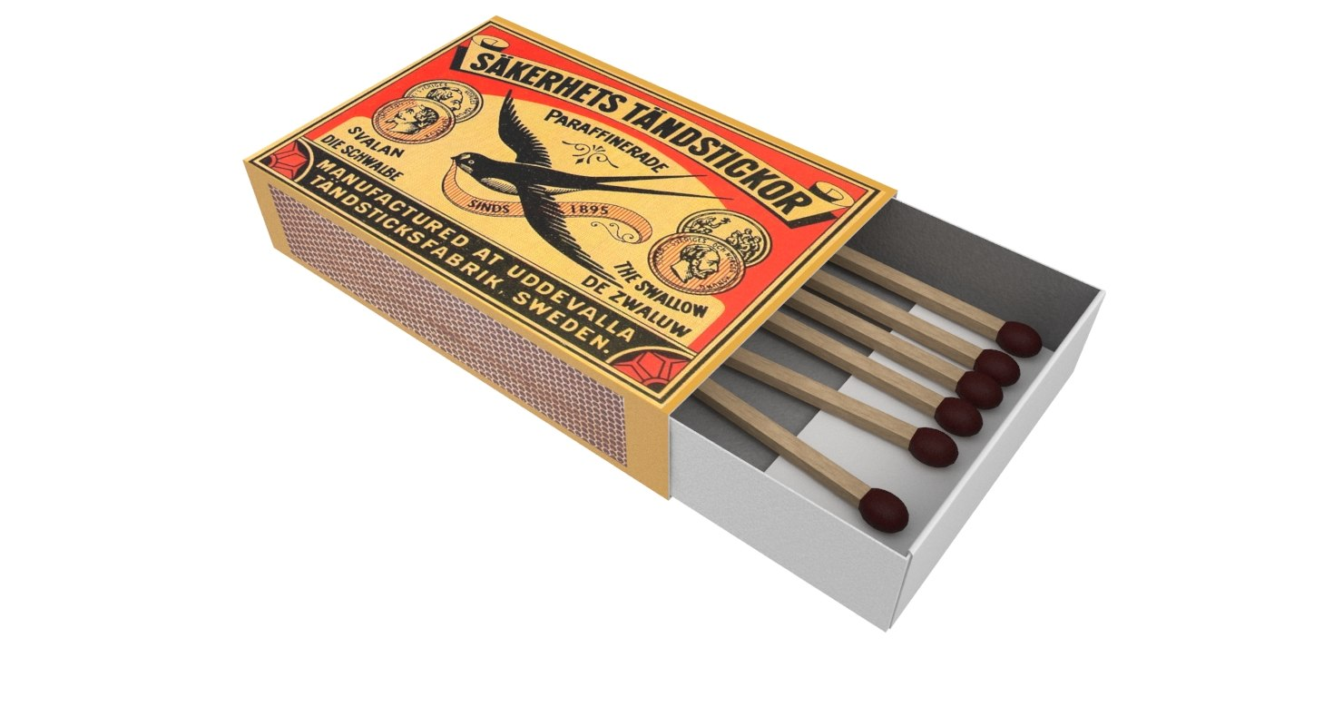 matchbox box match 3D model