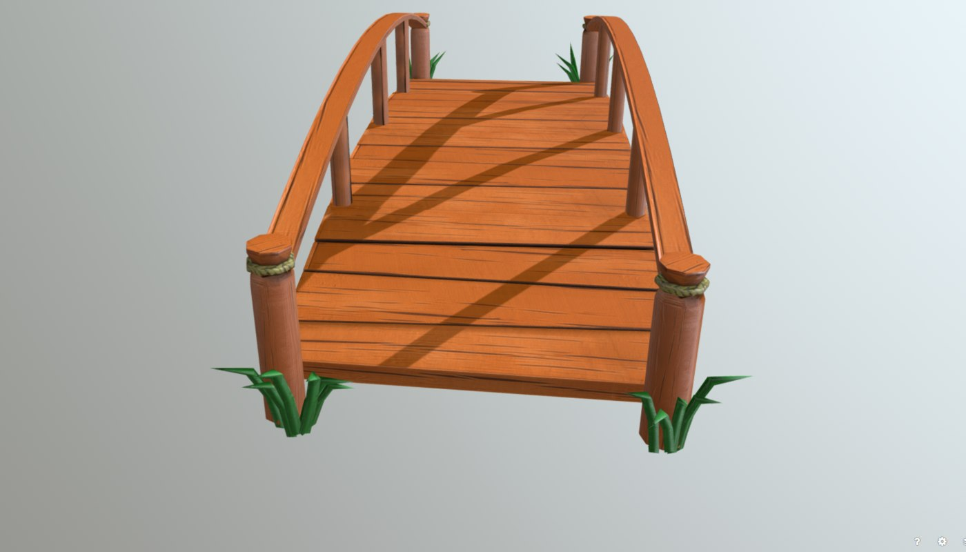 cartoon wooden bridge 3D