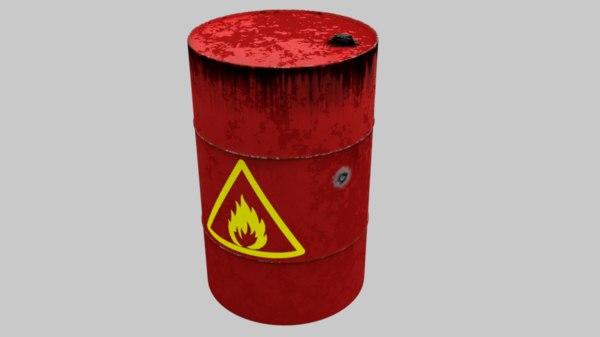 3D model explosive barrel