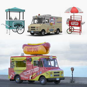 3D model hotdog icecream street vending