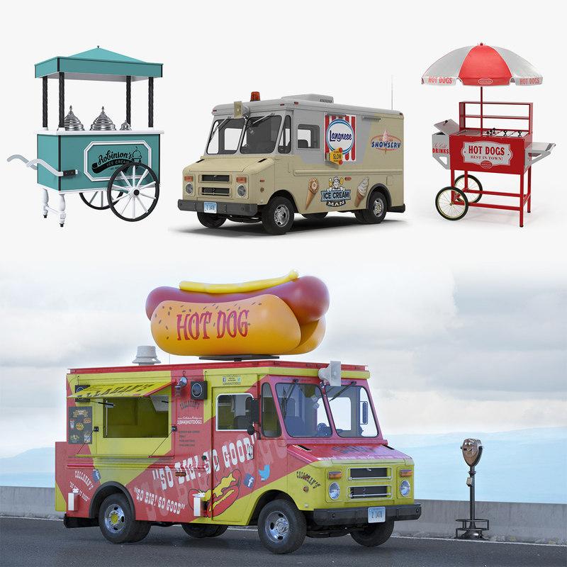 3D model hotdog icecream street vending