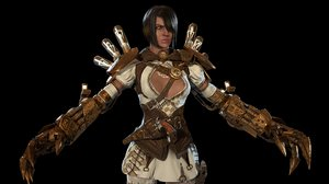 character steampunk girl games 3D model