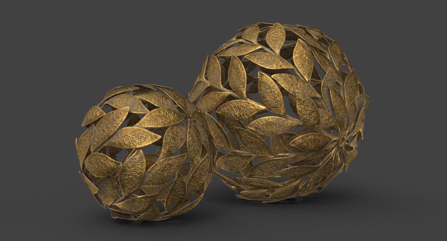 3D metal leaf decorative ball