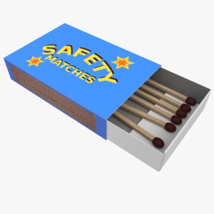 3D matchbox box match model