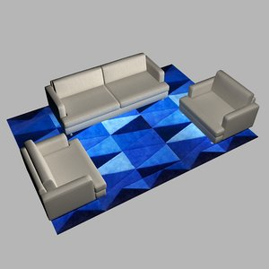 seated sofa carpet 3D model