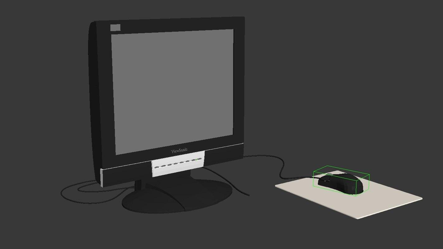 computer set 3D model