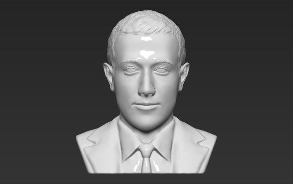 mark zuckerberg bust ready 3D