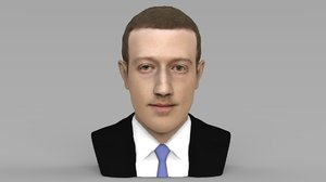 mark zuckerberg bust ready 3D model