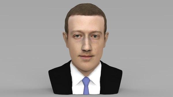 mark zuckerberg bust ready 3D model