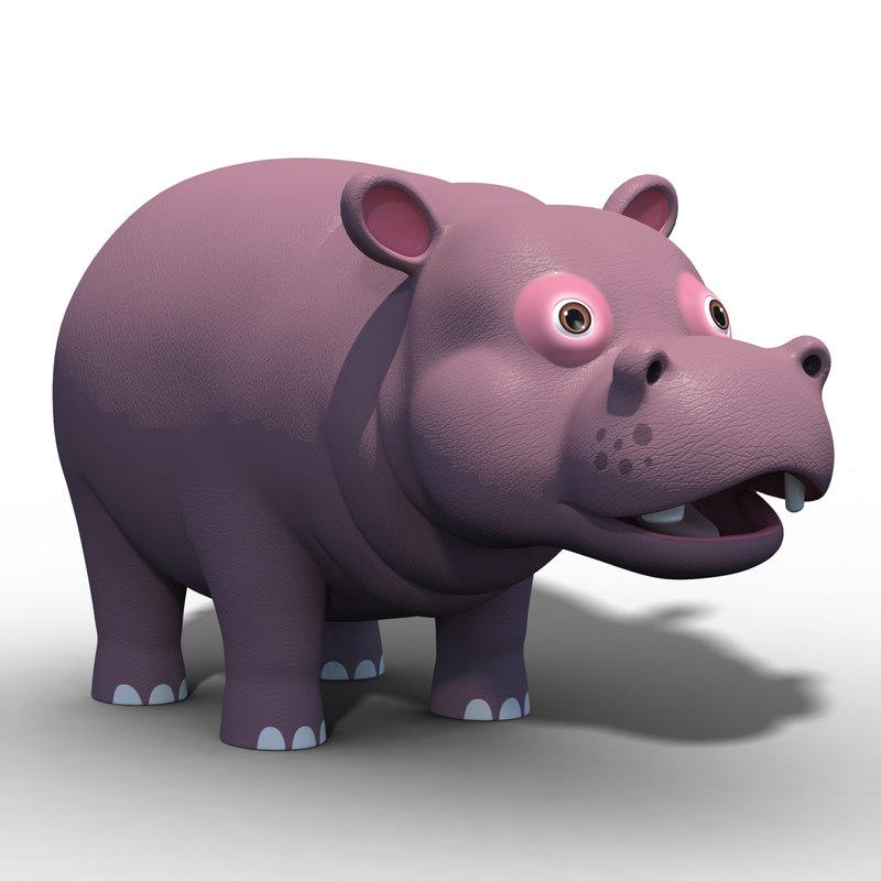 3D cartoon hippopotamus