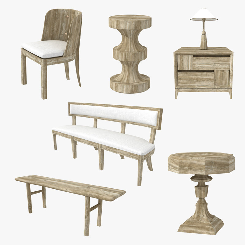 3D table chair wood maded