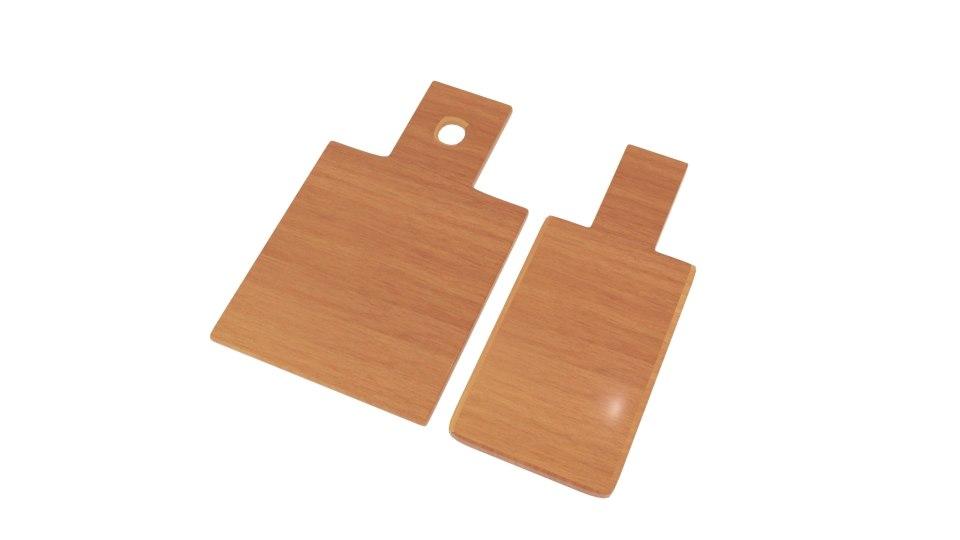 3D model cut wooden board