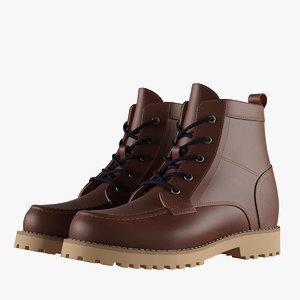 3D mens brown boots model