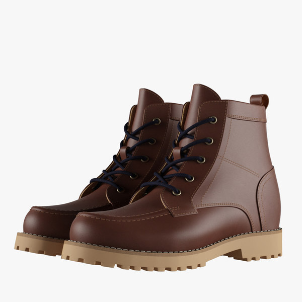 3D mens brown boots model