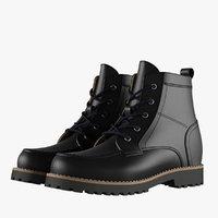 3D model mens black boots