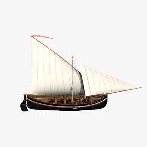 3D sailing boat falkusa gajeta