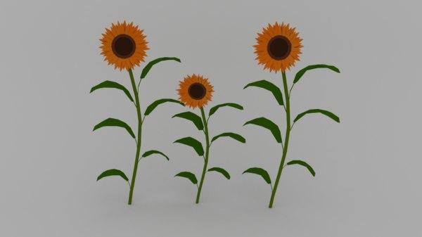 3D flower plant sunflower model