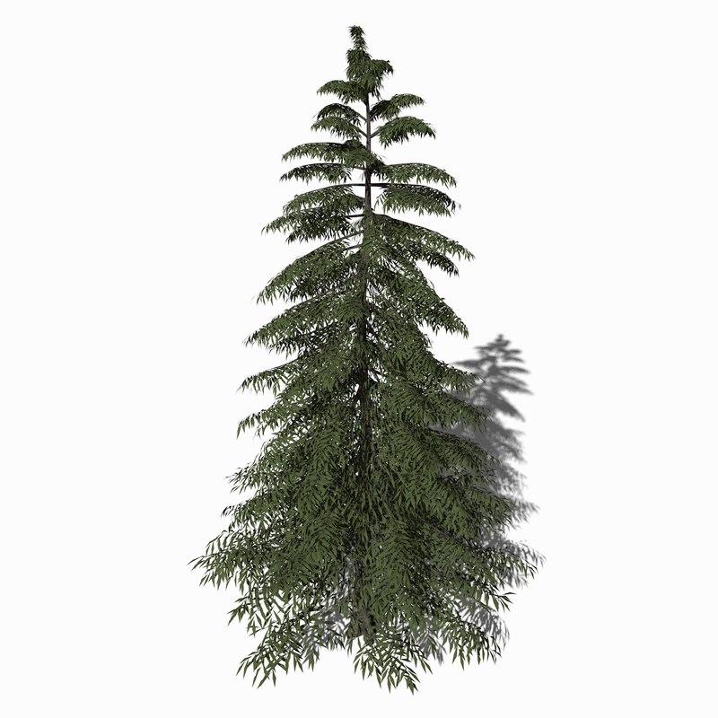 3D yellow cypress tree model