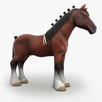 Clydesdale Horse Low Poly