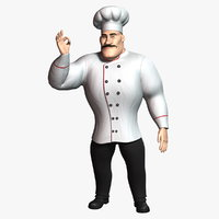 cartoon chef 2 rigged character model