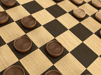 checkers set wood model