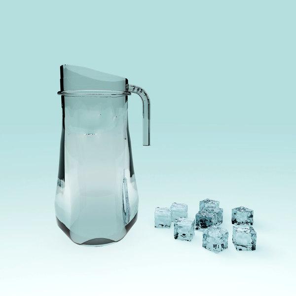 clear glass water kettle 3D model